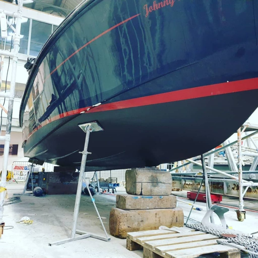 antifoul application on a Crusader 26 in Endeavour quay, Gosport